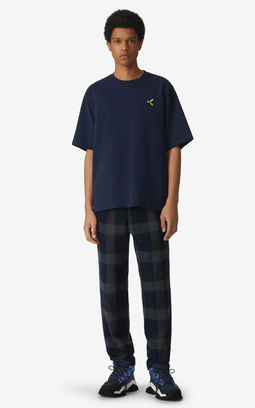 NAVY BLUE Oversized K Logo t-shirt for men KENZO