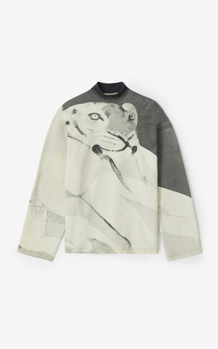 IVORY Sweatshirt with Júlio Pomar illustration for men KENZO