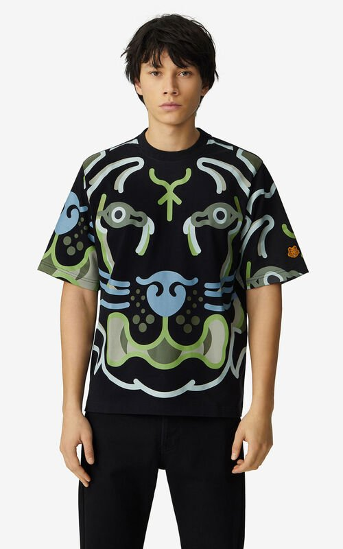 BLACK K-Tiger loose T-shirt for women KENZO