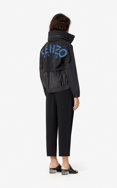 BLACK Dual-material KENZO Logo windbreaker for women