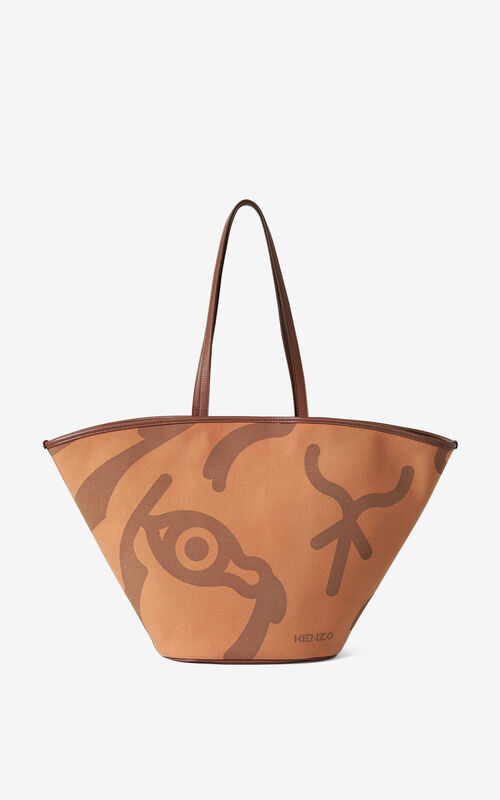 COGNAC Large KENZO Arc tote bag for unisex