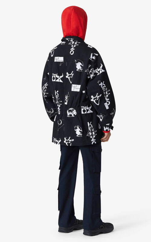 BLACK 'Chinese New Year Capsule' 'Sign & Symbol' oversize parka for men KENZO