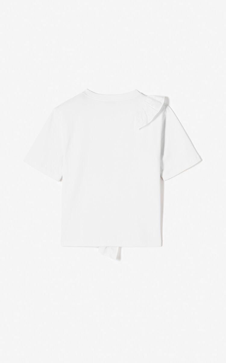 WHITE Tiger t-shirt with ruffles for women KENZO