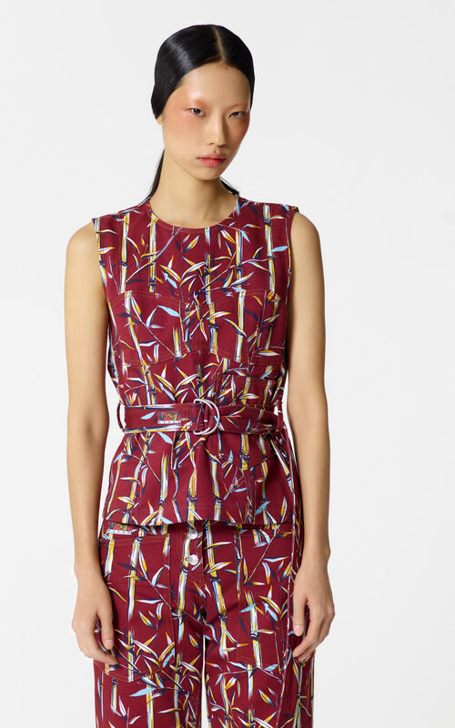 BORDEAUX 'Bamboo Leaf' top for women KENZO