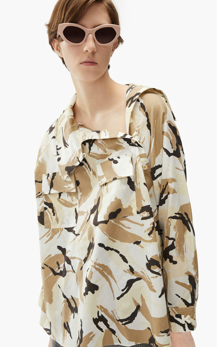 OFF WHITE 'Tropic Camo' buttoned blouse for women KENZO