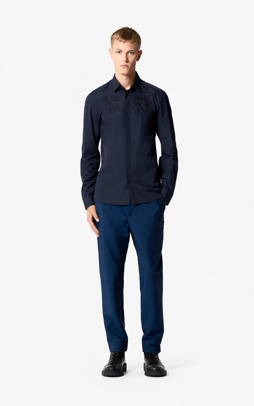 NAVY BLUE Embroidered Dragon shirt 'Holiday Capsule' for men KENZO