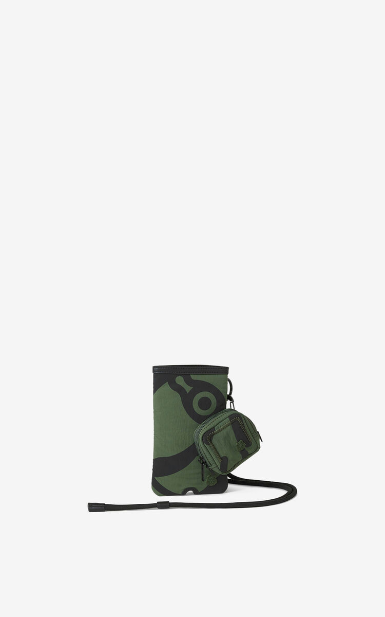 DARK KHAKI K-Tiger crossbody phone and headphones holder for women KENZO