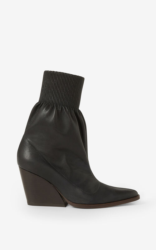 BLACK Billow leather ankle boots for unisex KENZO