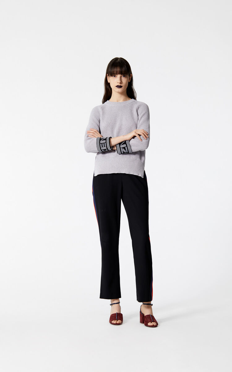 BLACK Crepe colourblock trousers for women KENZO