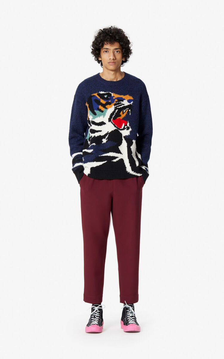 NAVY BLUE 'Tiger Head' jumper for men KENZO