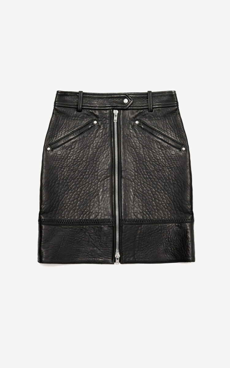 BLACK Leather skirt for women KENZO