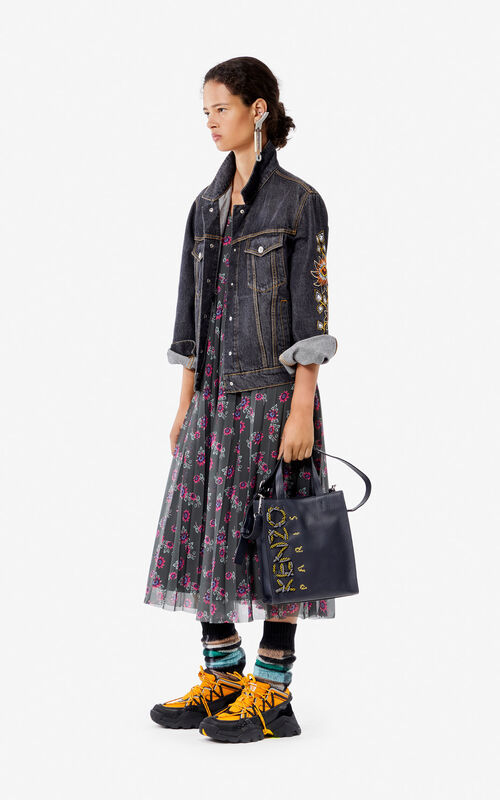 BLACK 'Passion Flower' denim jacket for women KENZO