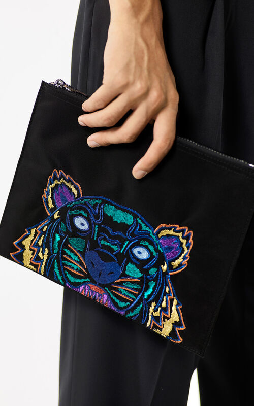 BLACK 'Holiday Capsule Collection' A4 Tiger Clutch Bag for women KENZO