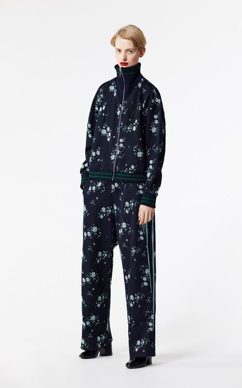 NAVY BLUE 'Cheongsam Flower' trousers for women KENZO
