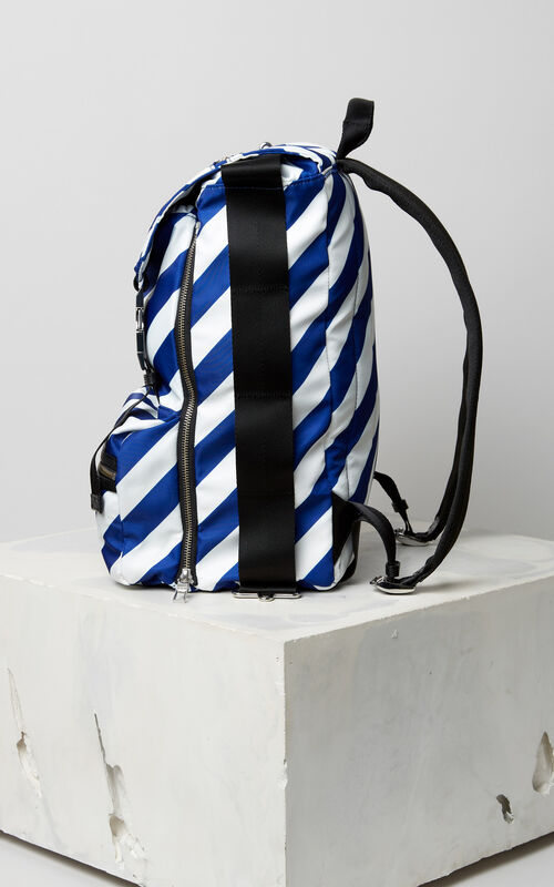 DEEP SEA BLUE Large striped 'Hyper KENZO' backpack for men