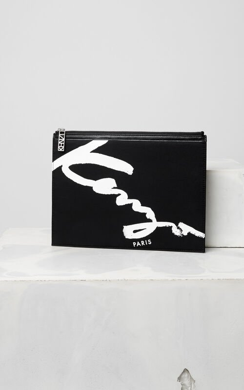 BLACK KENZO Signature clutch for men