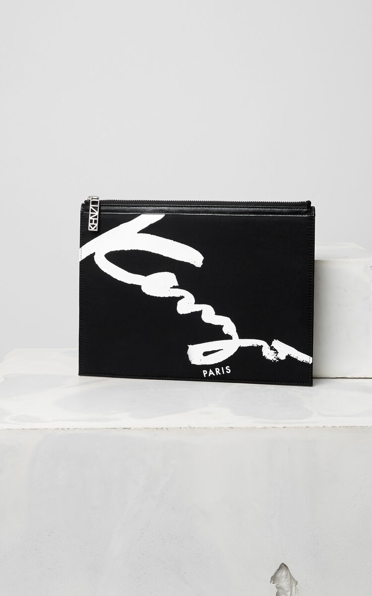 BLACK KENZO Signature clutch for unisex