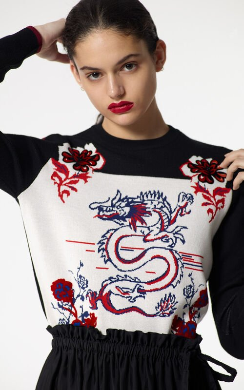 BLACK 'Dragon' jacquard jumper for women KENZO