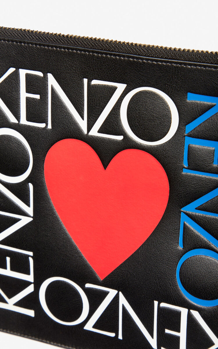 BLACK 'Square Logo' A4 leather clutch for unisex KENZO