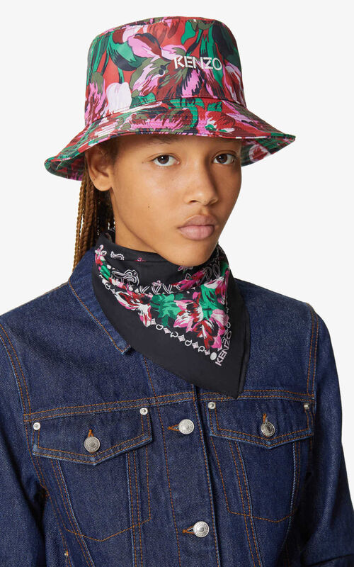 BLACK Floral bandana scarf for women KENZO
