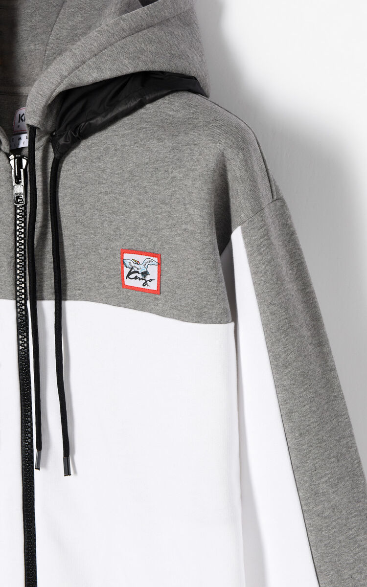 DOVE GREY KENZO Double Hood Hoodie for men