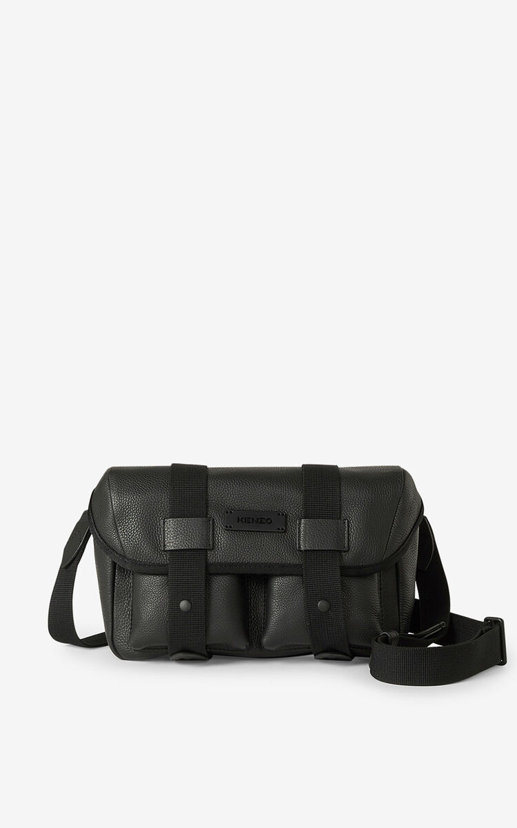 BLACK Courier grained leather belt bag for unisex KENZO