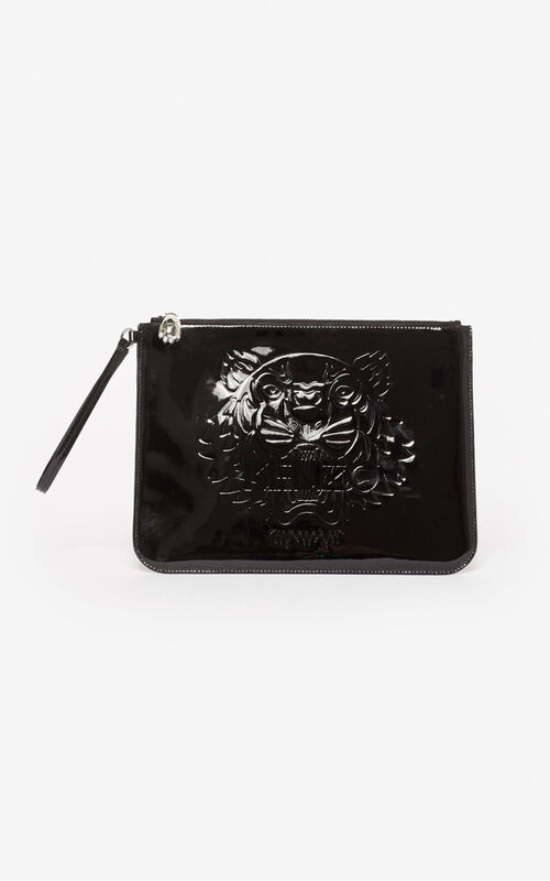 BLACK A4 Tiger clutch for unisex KENZO