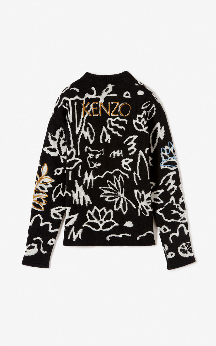 BLACK Sketch jumper for women KENZO