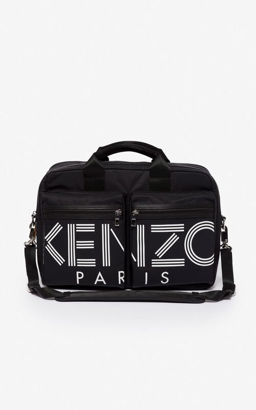 BLACK KENZO Logo briefcase for unisex