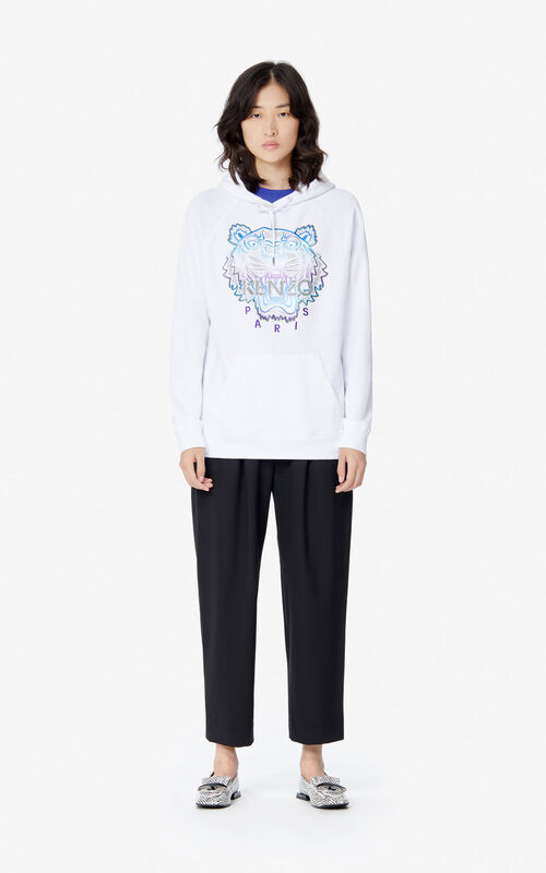 WHITE 'Holiday Capsule' hooded Tiger sweatshirt for women KENZO