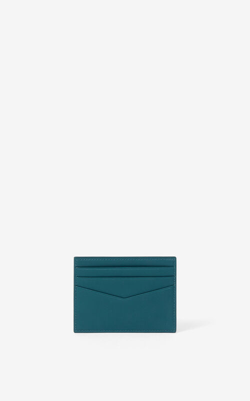 DUCK BLUE KENZO K leather card holder for women