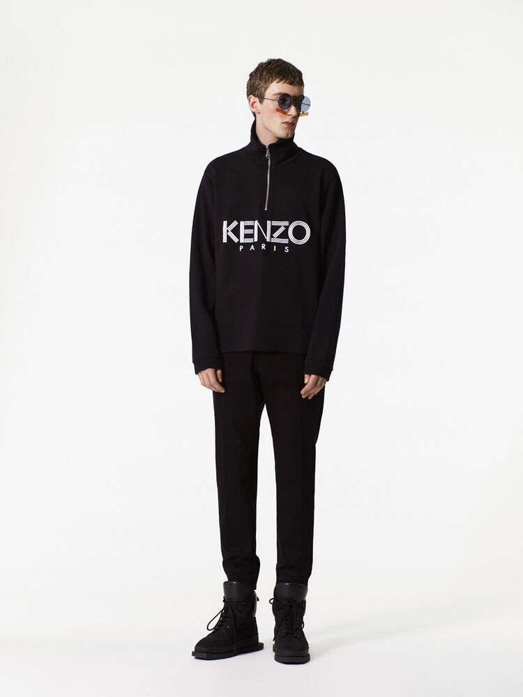 BLACK KENZO Paris zipped sweatshirt for men