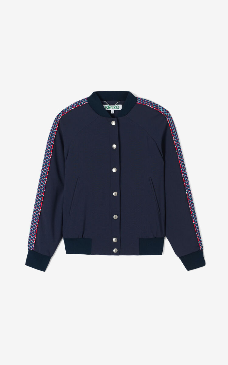 MIDNIGHT BLUE 'Double Net' Tiger varsity jacket for women KENZO