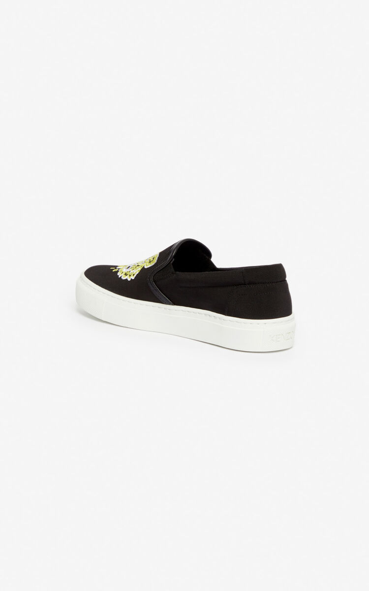 BLACK K-Skate Tiger slip-ons for unisex KENZO