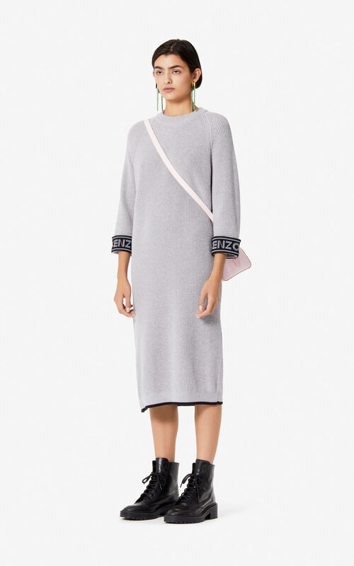 PALE GREY KENZO Logo long dress for women