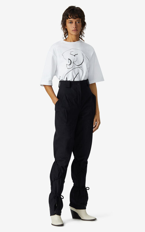 BLACK Trousers with pockets and cords for men KENZO