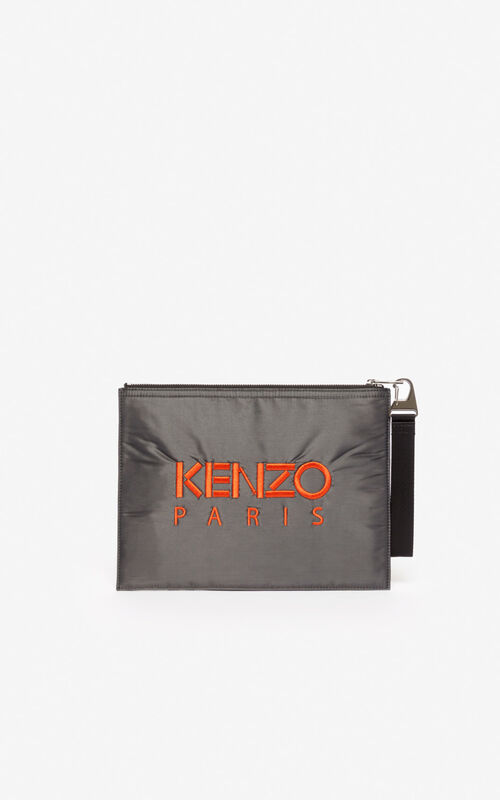 ANTHRACITE A4 Tiger 'Kampus' clutch for unisex KENZO