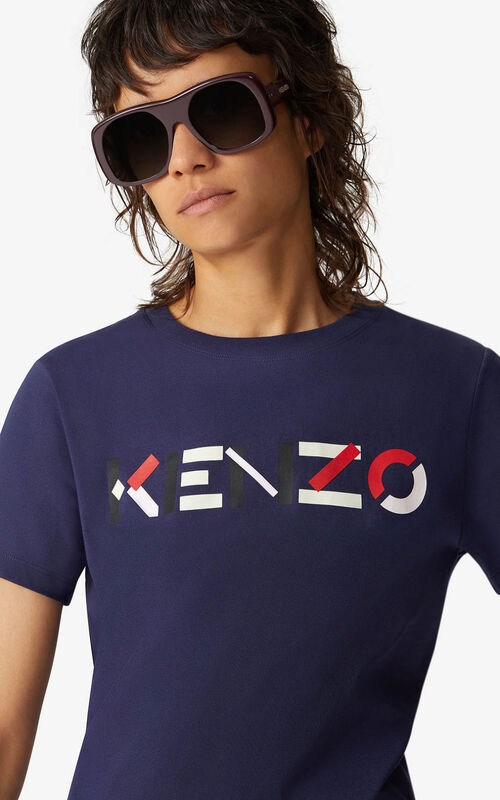 NAVY BLUE KENZO t-shirt with multicoloured logo for women