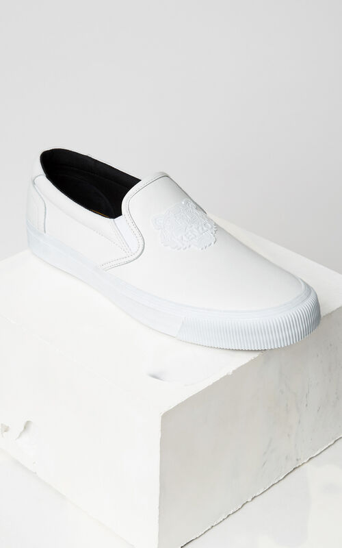 WHITE Leather Tiger Slip On for men KENZO