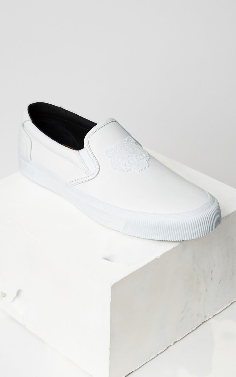 WHITE Leather Tiger Slip On for women KENZO