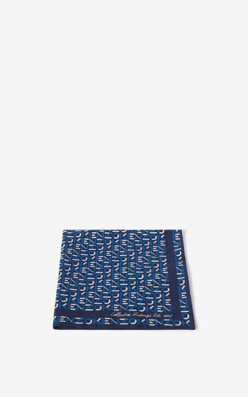 MIDNIGHT BLUE KENZO monogrammed bandana for unisex