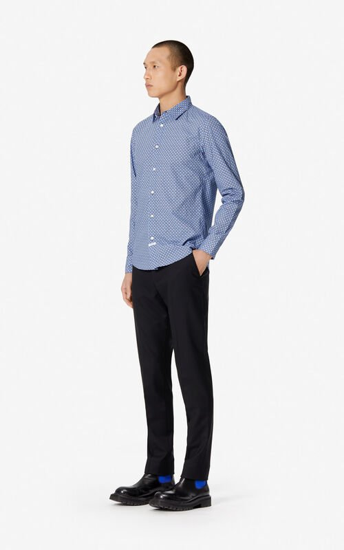 BLUE Slim fit 'Tiger Monograme' shirt for men KENZO