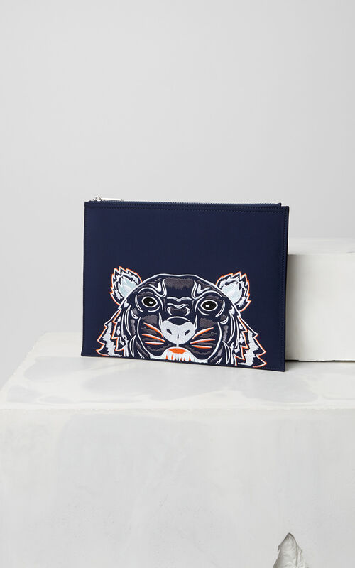 NAVY BLUE Tiger neoprene clutch for unisex KENZO