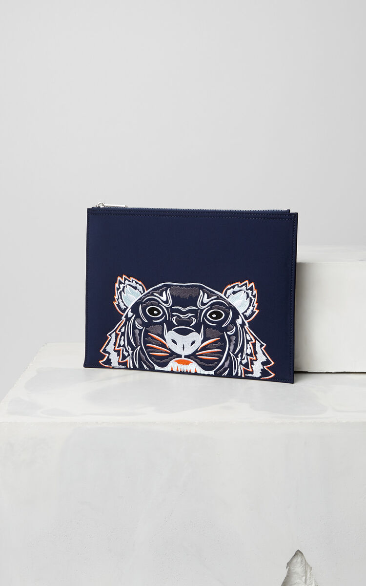 NAVY BLUE Tiger clutch in neoprene for men KENZO