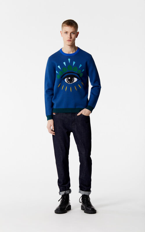 FRENCH BLUE Eye jumper for men KENZO