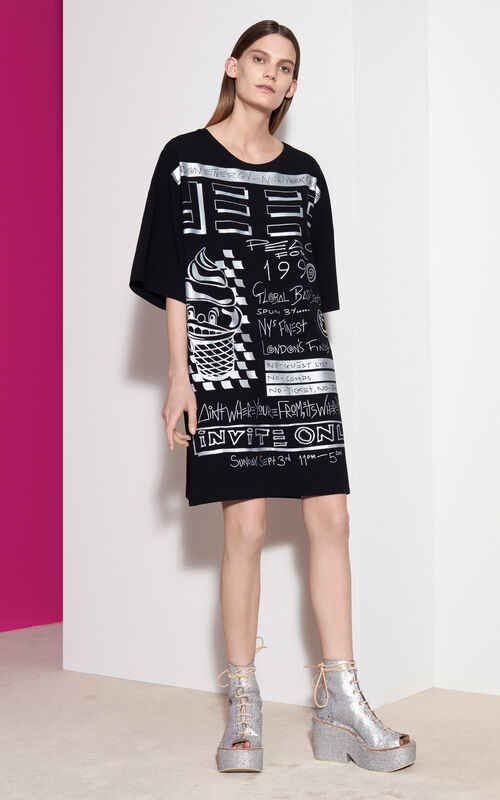 Flyers Oversized T-shirt Dress , BLACK, KENZO