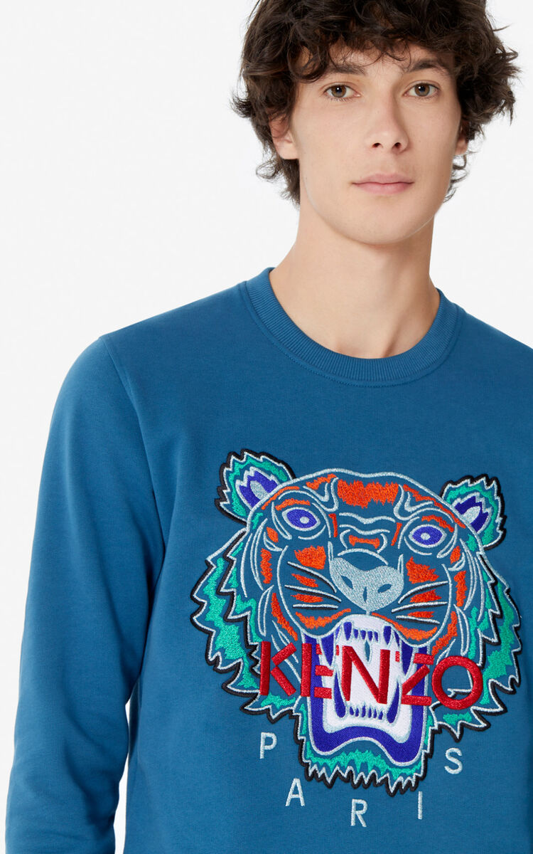 BLUE Tiger sweatshirt for men KENZO