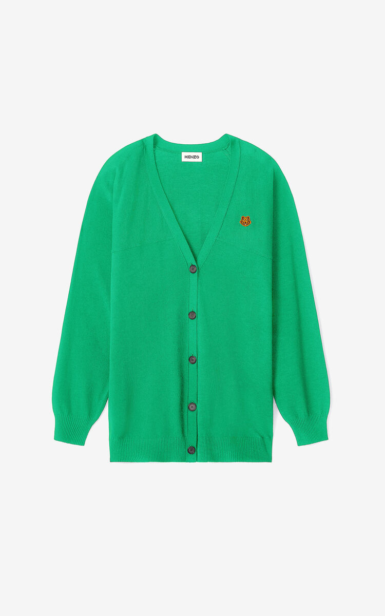 GREEN Tiger Crest oversize cardigan for women KENZO