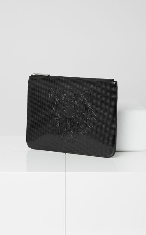 A4 Metallic Tiger Clutch, BLACK, KENZO