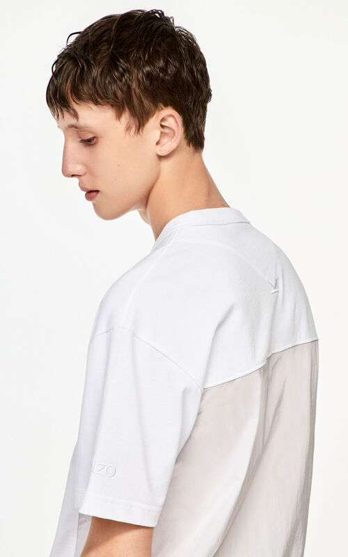 WHITE Bi-material T-shirt for men KENZO